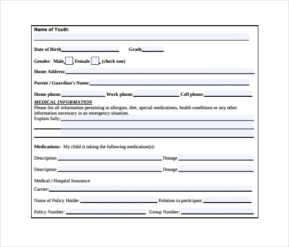 Sample Medical Consent Form Example Sample Forms Printable Samples
