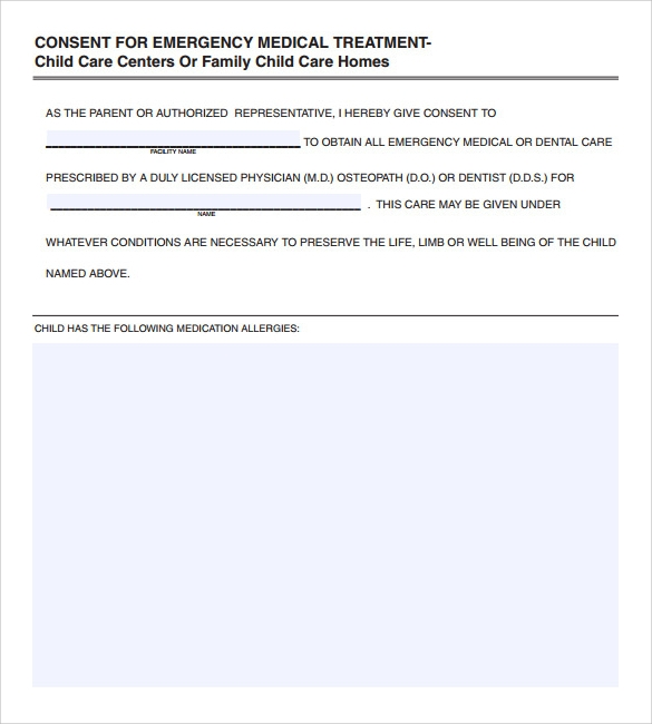 Sample Medical Consent Form 13 Free Documents in PDF – Free Child Medical Consent Form