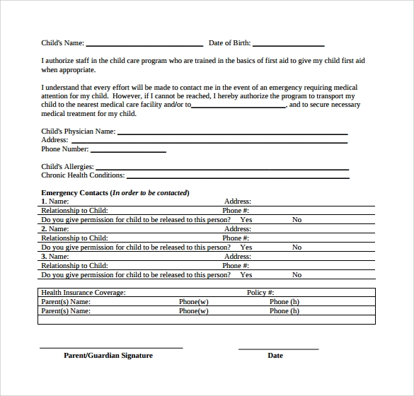 Doc12751650 Child Medical Consent Forms Free Printable – Sample Medical Consent Form