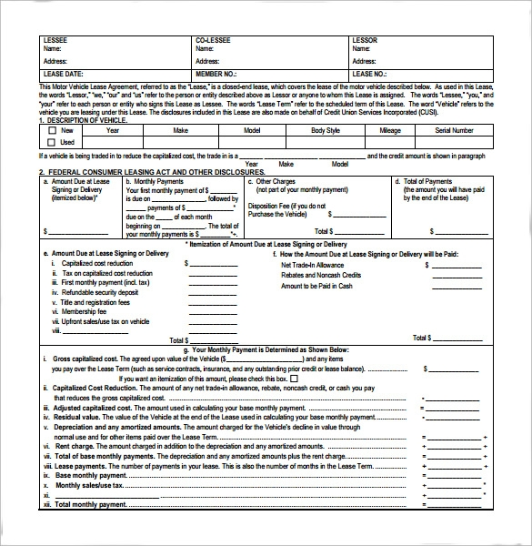 Sample Vehicle Lease Agreement Templates - 10+ Free Download ...