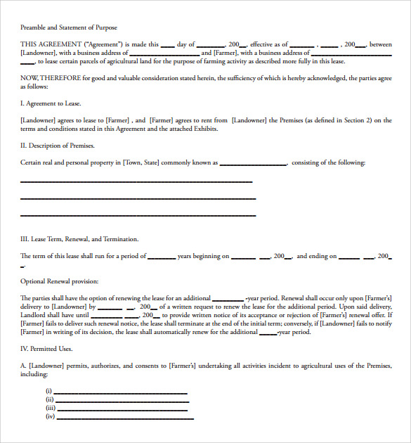 sample land lease term agreement