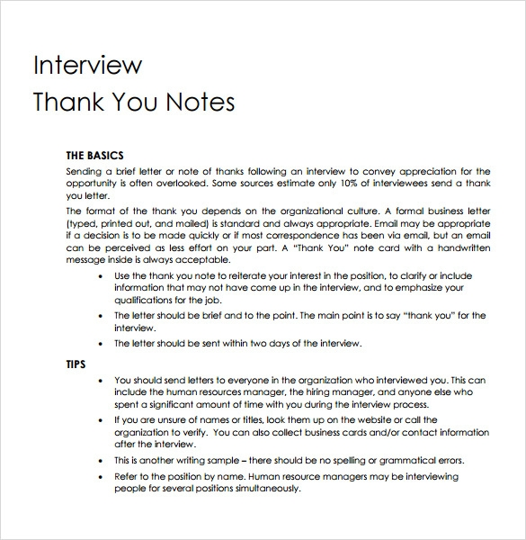 professional thank you note for interview