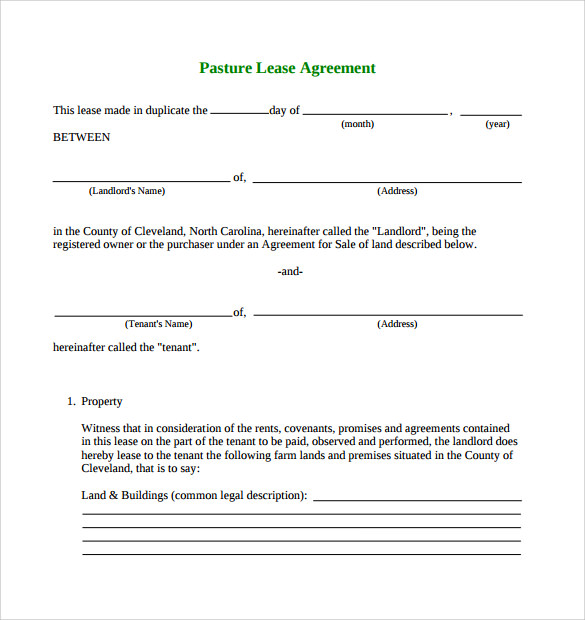 pasture lease agreement template 6 download free