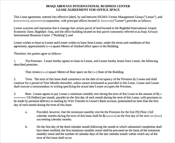 iraqi airways office lease agreement