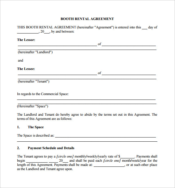 Sample Booth Rental Agreement 9 Documents In Pdf
