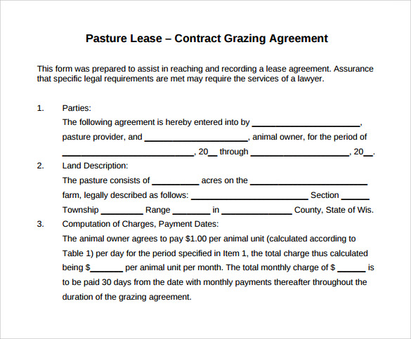pasture lease contract grazing agreement