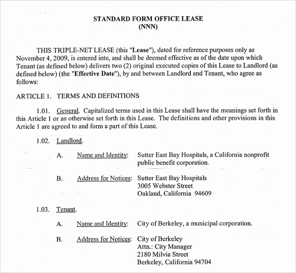 Sample Office Lease Agreement   Documents In Word Pdf