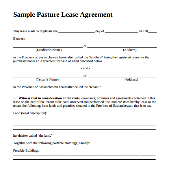 Pasture Lease Agreement Template - 6+ Download Free
