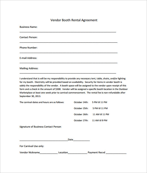 Sample Booth Rental Agreement   Documents In Pdf