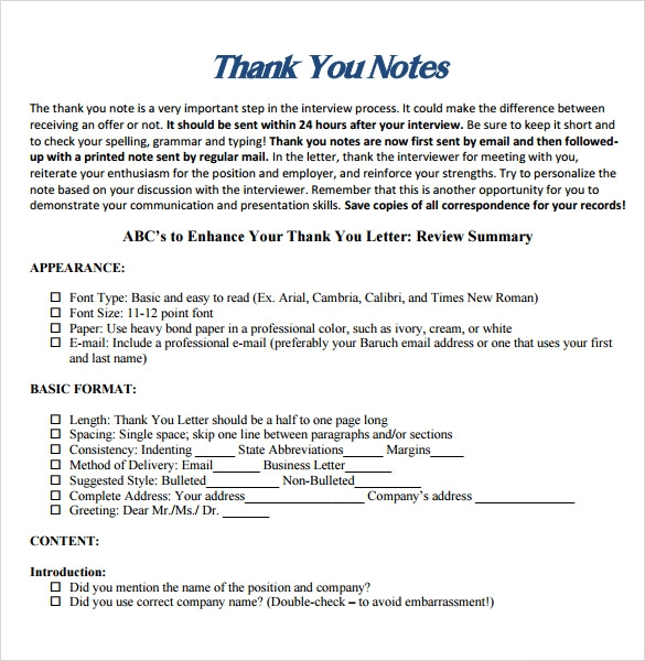 Sample Professional Thank You Notes 7 Documents in PDF Word – Professional Thank You Letter