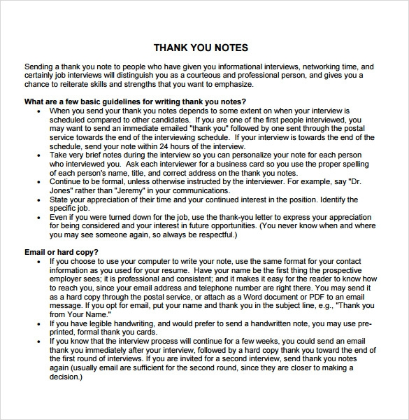 professional thank you note guide