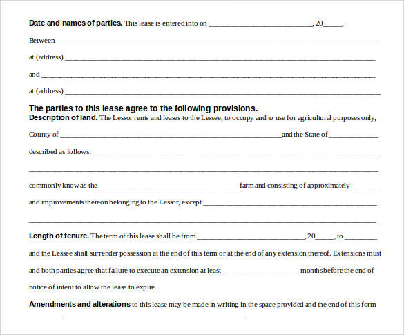 Pasture Lease Agreement Document Download For Free  Free Lease Agreements Templates