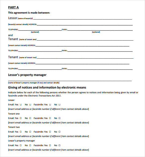 residential tenancy lease agreement