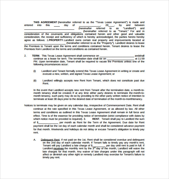 texas residential lease agreement1
