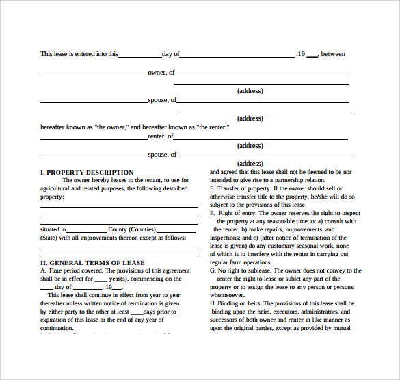 9 equipment lease agreement templates sample templates for Farm rental agreement template