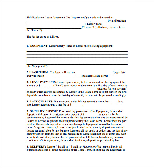 Sample Equipment Lease Template