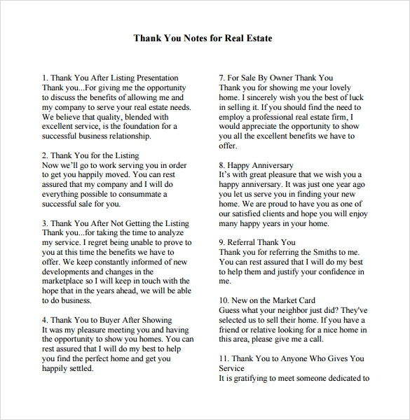 Sample Business Thank You Note   Documents In Pdf  Word