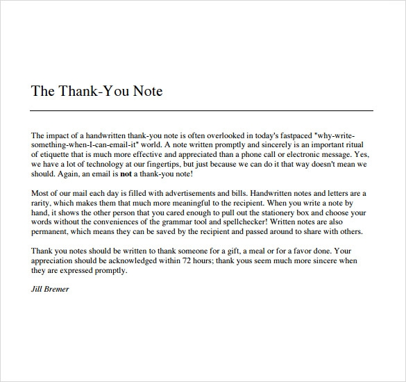 Sample Thank You Note To Boss   Documents In   Word