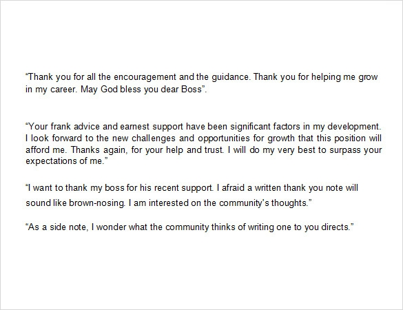Sample Thank You Note To Boss   Documents In Pdf  Word