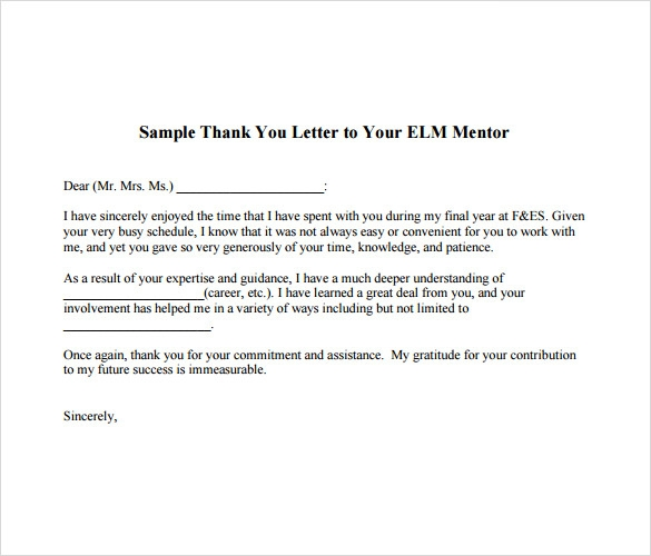 7 thank you note to boss samples sample templates thank you note to mentor expocarfo Choice Image