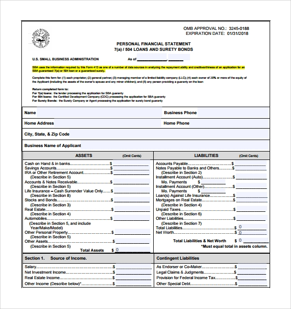 Personal Financial Statement Form   Free Samples Examples Format