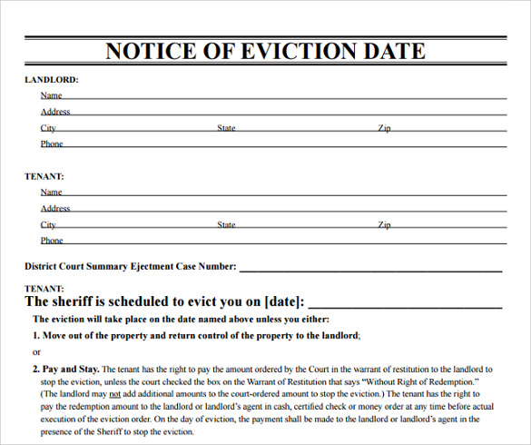 notice of eviction date