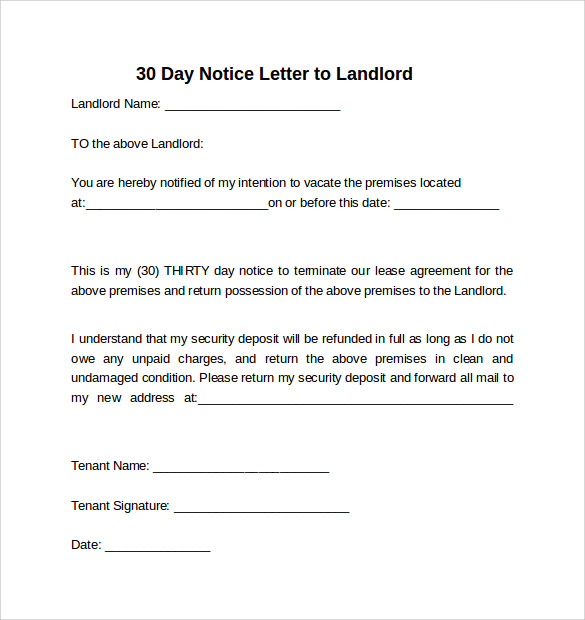 9 sample 30 days notice letters to landlord in word for Free 30 day notice to vacate template
