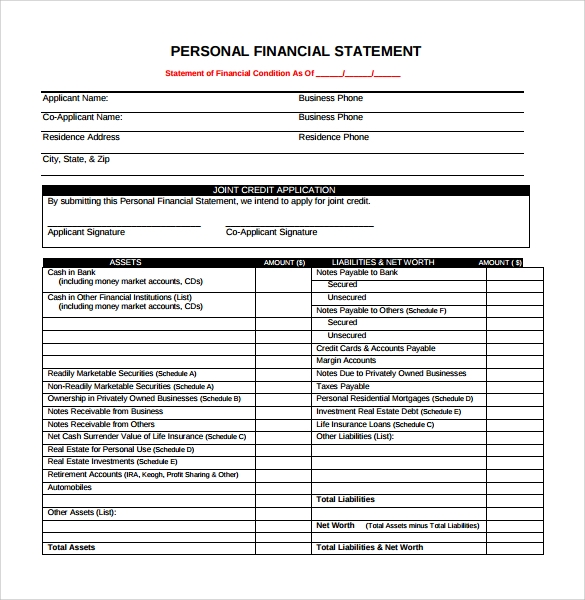 personal financial statement form pdf for download