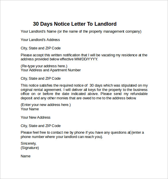 30 days notice letter to landlord example