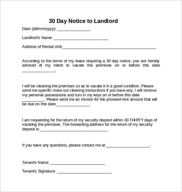 30 days notification letter to landlord