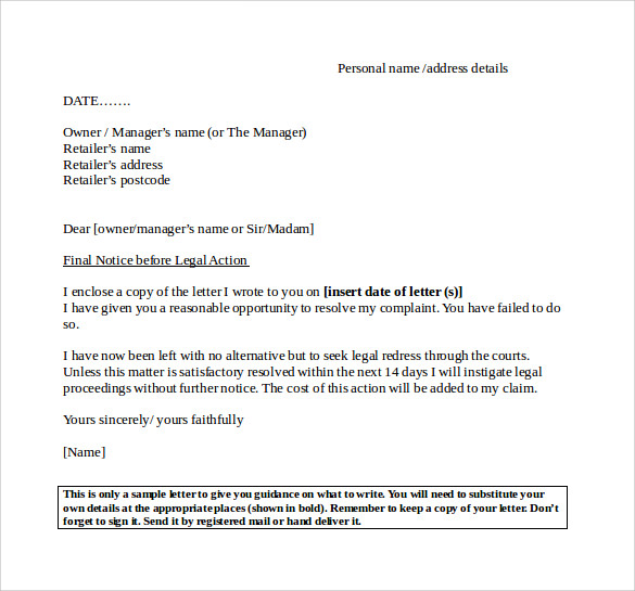 Final Notice Letter 7 Documents Download In Pdf Word