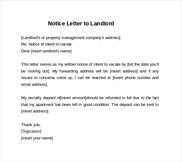 9 sample 30 days notice letters to landlord in word for Written notice letter template