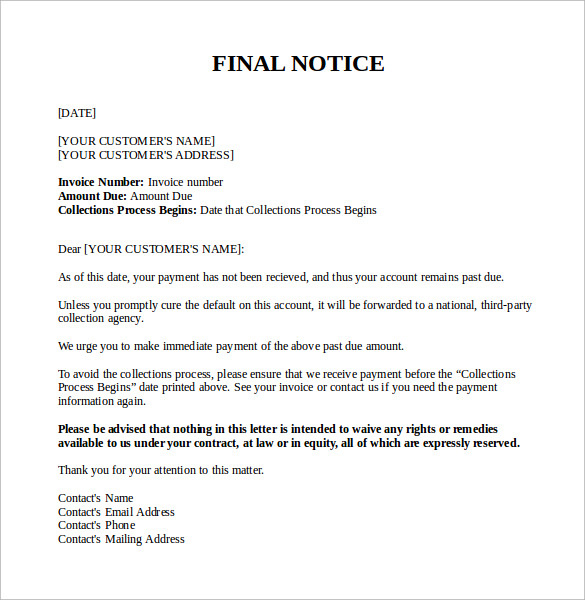 Final Notice Letter 7 Documents Download In PDFWord – Sample Final Notice Letter