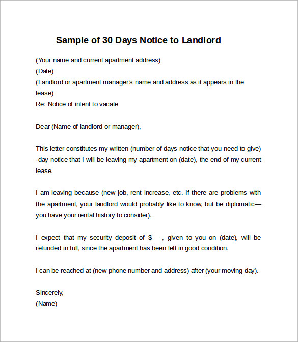 sample of 30 days notice letter to landlord