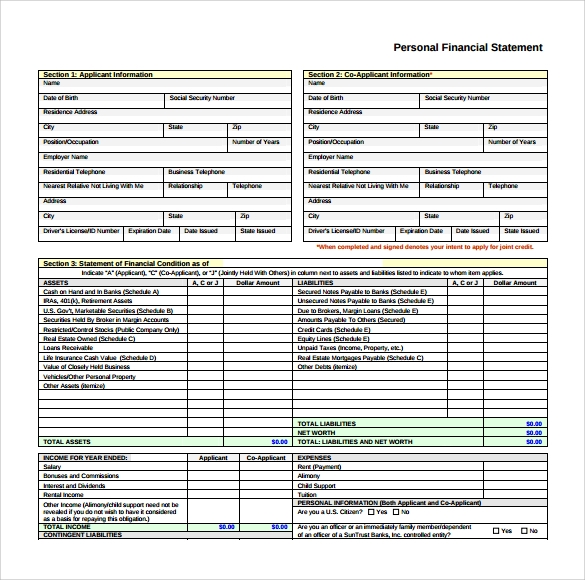Simple personal financial statement – Printable Personal Financial Statement Form