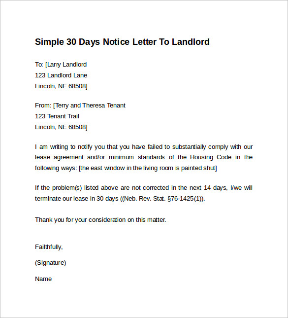 simple 30 day notice to landlord 9  Sample 30 Days Notice Letters to Landlord In Word | Sample Templates