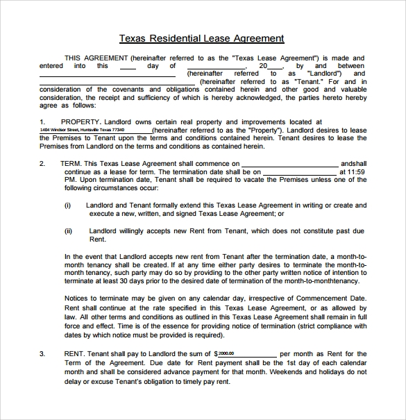 Sample Texas Residential Lease Agreement 12 Free Documents in – Free Residential Lease