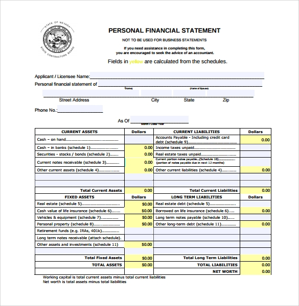 personal financial statement form pdf download