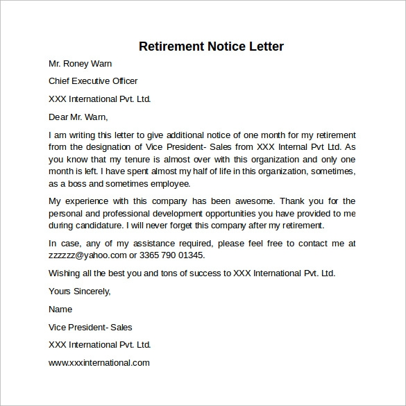 30 days notice letter example