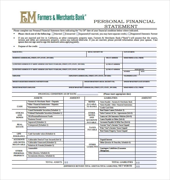 personal financial statement form template