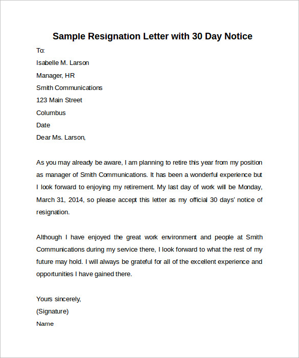sample 30 days notice letter