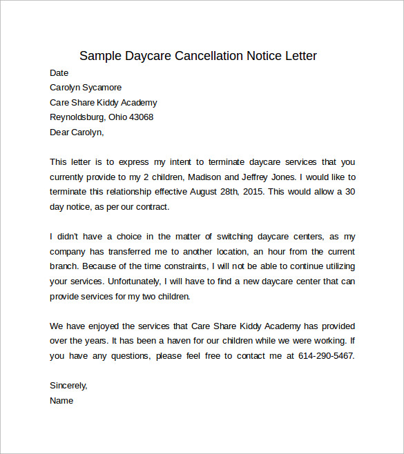 8 sample 30 day notice letters sample templates sample daycare cancellation 30 days notice letter spiritdancerdesigns Gallery
