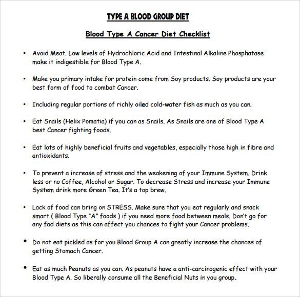 blood type diet chart pdf