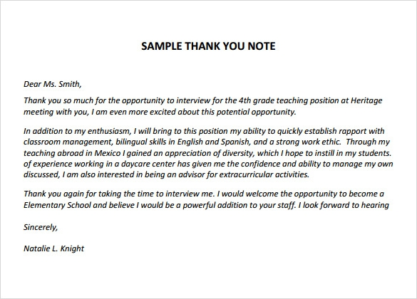 Thank You Note Sample Free Thank You Notes For Teachers Sample