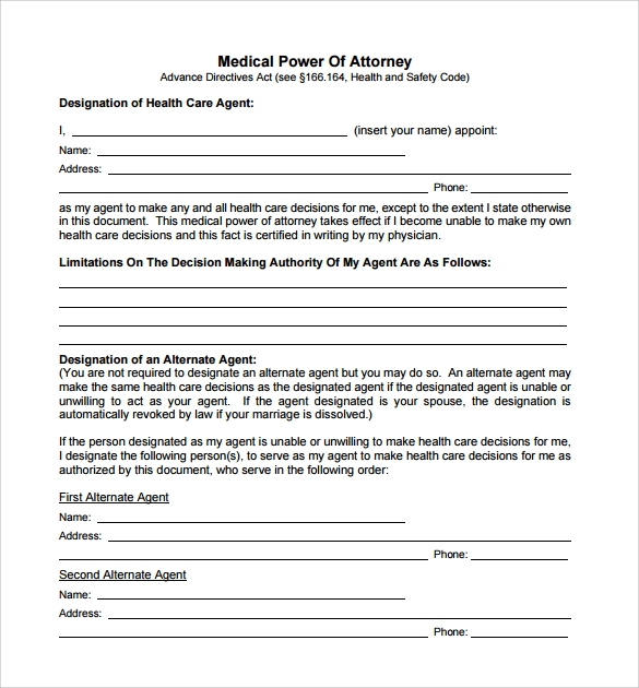 Sample Medical Power Of Attorney Form   Download Free Documents