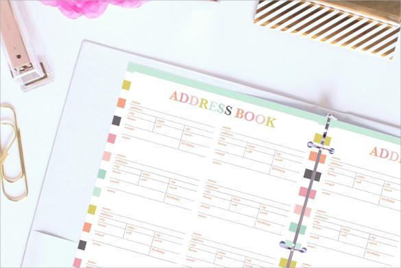 address book templates