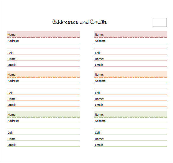 Sample Address Book   Documents In Pdf Word  Psd