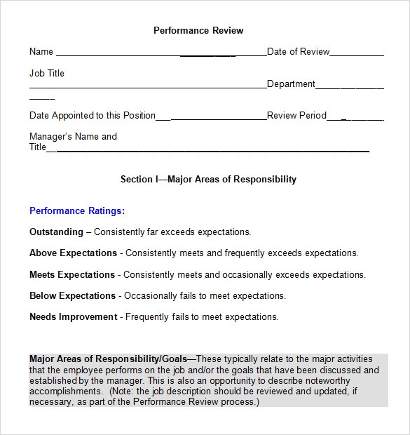 Performance Review Template Word  Performance Review Template Word