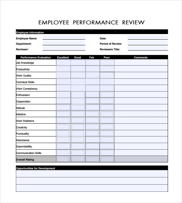 performance evaluation template