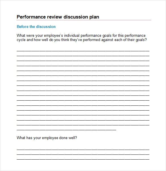 Performance Review Template   7  Download Documents in PDF Word RnIud2BX